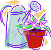 Water Jug with Potted Plant clipart