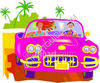 Pink Sports Car clipart