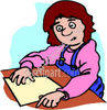 Girl Sitting at Desk clipart
