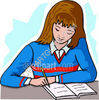 Girl doing Homework clipart