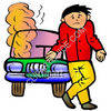 Boy With a Smoking Car clipart