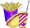 Hot Dog, Fries and a Beverage clipart