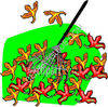 Fallen Leaves and a Rake clipart