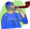Shepherd Blowing a Horn clipart