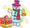 Snowman Ringing a Bell clipart