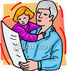 Girl and Her Grandpa clipart