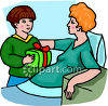 Boy Visiting a Lady in the Hospital clipart