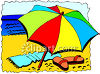 Beach Umbrella in the Sand clipart