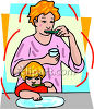 Mother and Child Brushing Teeth clipart