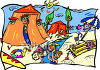 People Having a Day at the Beach clipart