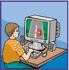 Boy Playing Video Games on a Computer clipart