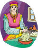 Woman Making Cheese clipart