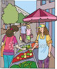 Fresh Fruit and Vegetable Street Vendor clipart