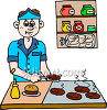 Boy Making Burgers at a Fast Food Restaurant clipart
