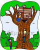 Kids Playing in a Tree House clipart