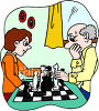 Boy and His Grandpa Playing Chess clipart