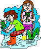Boy and Girl Catching Frogs clipart