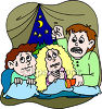 Kids Telling Ghost Stories While Camping clipart