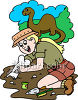 Female Archaeologist Digging Up Dinosaur Bones clipart