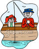 Girl and Her Dad Fishing clipart