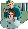 Prisoner Getting Head Shaved in Jail clipart