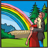 Man and Woman Looking at a Rainbow clipart