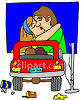 Couple Cuddling at the Drive-In clipart