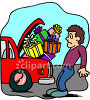 Man Stuffing Presents Into His Trunk clipart