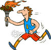 A Runner Holding the Olympic Torch clipart