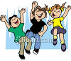 Kids Jumping in the Air and Having Fun clipart