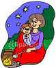 Woman and Her Daughter Roasting Marshmellows clipart