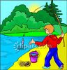 Boy Catching a Fish Using Worms clipart