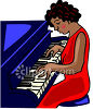 Pretty  Black Woman Playing the Piano clipart