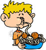 A Boy Eating Spaghetti and Meatballs clipart