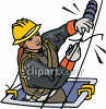 Female Lineman Fixing a Broken Telephone Wire clipart
