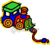 Brightly Colored Toy Pull Train clipart
