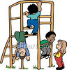 Boys and Girls Playing on a Jungle Gym at the Playground clipart