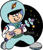 Little Boy Playing Astronaut Spaceman clipart