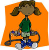 Dark Skinned Ethnic Girl Jumping Rope clipart