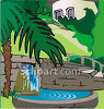Tropical Yard with a Waterfall a Stone Steps clipart