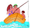 Mom, Dad and Son On a Fishing Trip In a Row Boat clipart