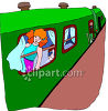 Young Red Haired Girl Going on a Trip on a Passenger Train clipart