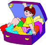 Little Boy Trying to Stow Away in a Suitcase clipart