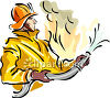 A fireman fighting a fire with a firehose clipart