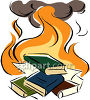 A book burning with books on fire clipart
