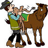 Cowboy Saddling His Horse clipart