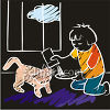 Chalk Drawing of a Little Girl Feeding Her Cat clipart