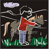 Chalk Drawing of a Boy With His Horse clipart