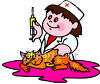 Little Girl Playing Nurse With Her Cat clipart