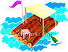 Handmade Log Raft clipart